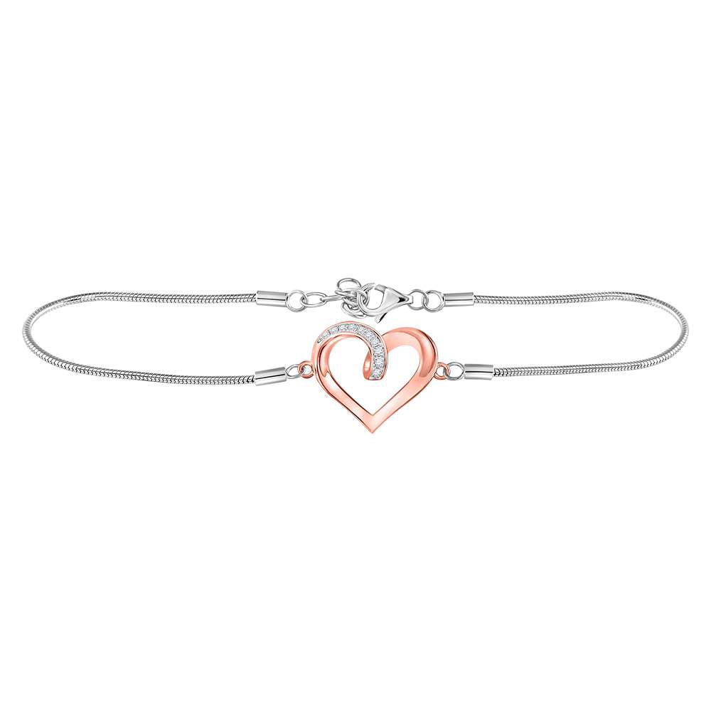 Sterling Silver Womens Round Diamond Rose-tone Heart Bracelet 1/12 Cttw