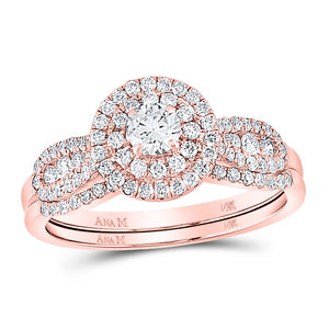14kt Rose Gold Round Diamond Halo Bridal Wedding Ring Band Set 3/4 Cttw