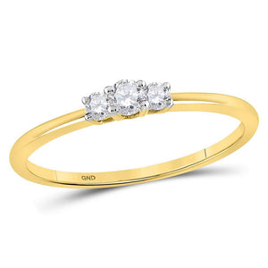 10kt Yellow Gold Womens Round Diamond 3-stone Promise Ring 1/6 Cttw