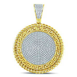 10kt Yellow Gold Mens Round Diamond Greek Key Circle Charm Pendant 5/8 Cttw