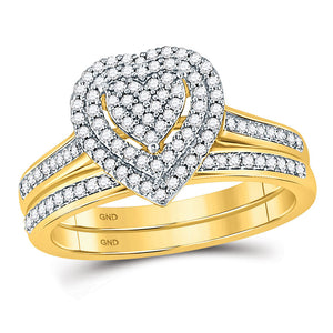 10kt Yellow Gold Diamond Heart Bridal Wedding Ring Band Set 1/3 Cttw