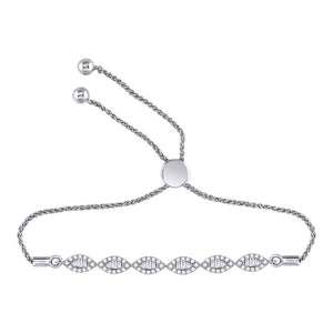 10kt White Gold Womens Round Diamond Linked Oval Bolo Bracelet 3/8 Cttw
