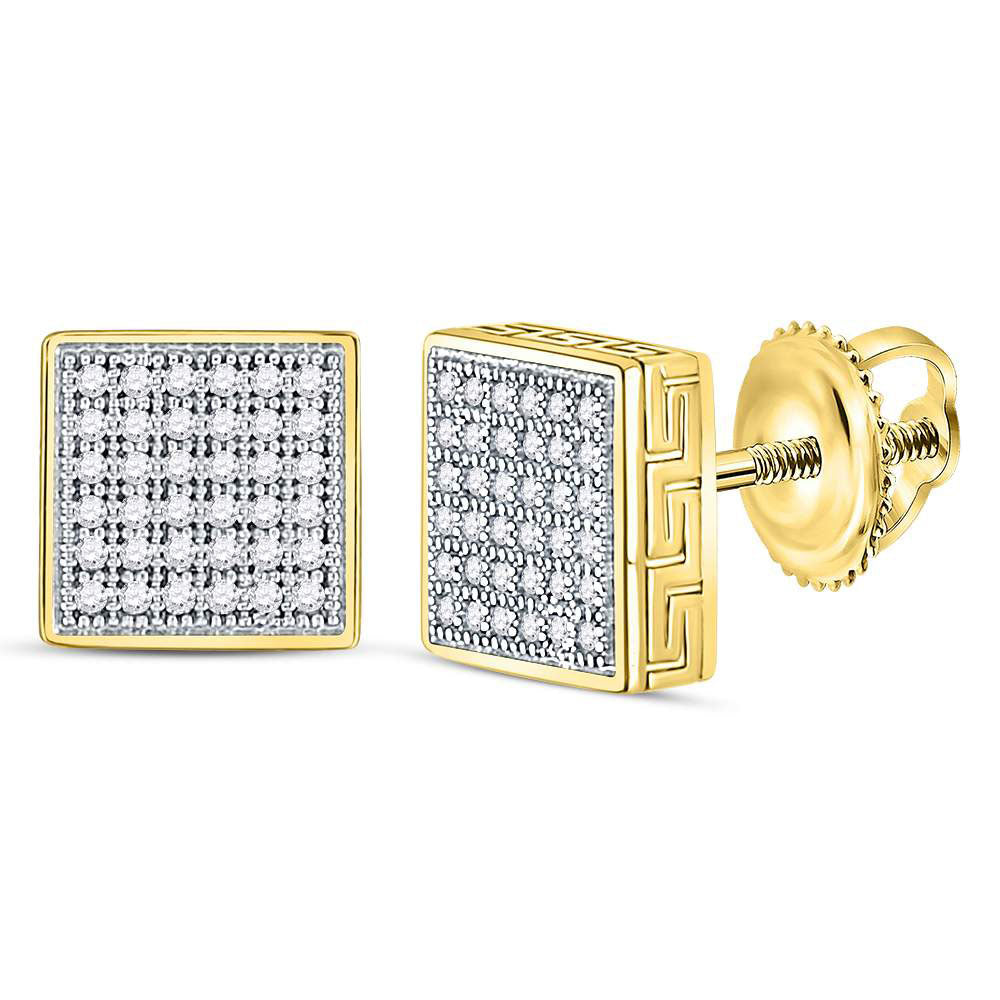 10kt Yellow Gold Mens Round Diamond Square Cluster Stud Earrings Cttw