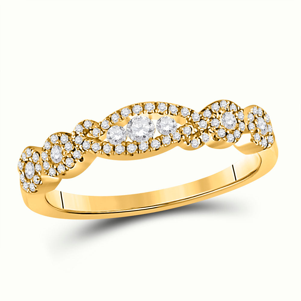 14kt Yellow Gold Womens Round Diamond 3-Stone Band Ring 1/3 Cttw