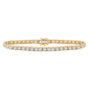 10kt Yellow Gold Womens Round Diamond Studded Tennis Bracelet 6-3/4 Cttw