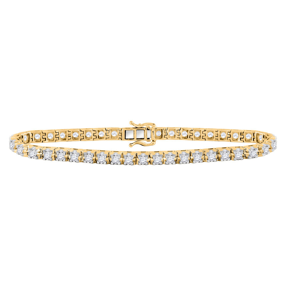 10kt Yellow Gold Womens Round Diamond Studded Tennis Bracelet 7 Cttw