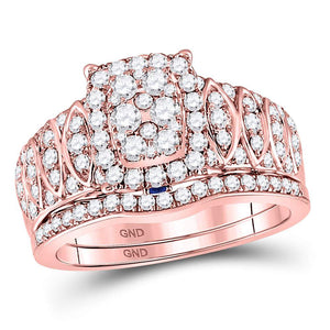 14kt Rose Gold Womens Round Diamond Bridal Wedding Engagement Ring Set 1.00 Cttw