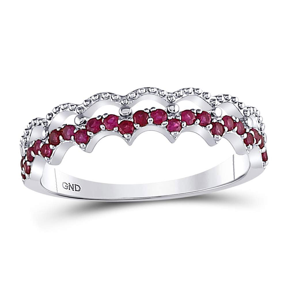 10kt White Gold Womens Round Ruby Scalloped Stackable Band Ring 1/4 Cttw