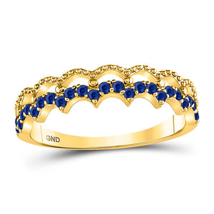 10kt Yellow Gold Womens Round Blue Sapphire Scalloped Stackable Band Ring 1/4 Cttw