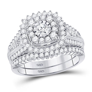 10kt White Gold Womens Round Diamond Bridal Wedding Engagement Ring Set 1-1/4 Cttw