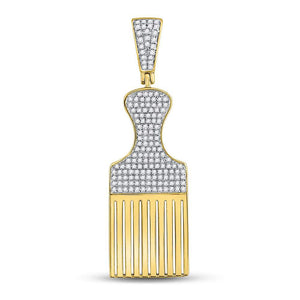 10kt Yellow Gold Mens Round Diamond Afro Hair Pick Charm Pendant 1/2 Cttw