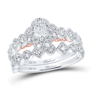 14kt Two-tone Gold Womens Round Diamond Bridal Wedding Engagement Ring Band Set 3/4 Cttw