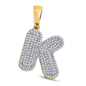 10kt Yellow Gold Mens Round Diamond Letter K Bubble Initial Charm Pendant 5/8 Cttw