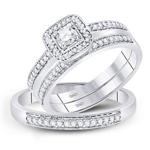 10kt White Gold His Hers Round Diamond Solitaire Matching Wedding Set 1/2 Cttw