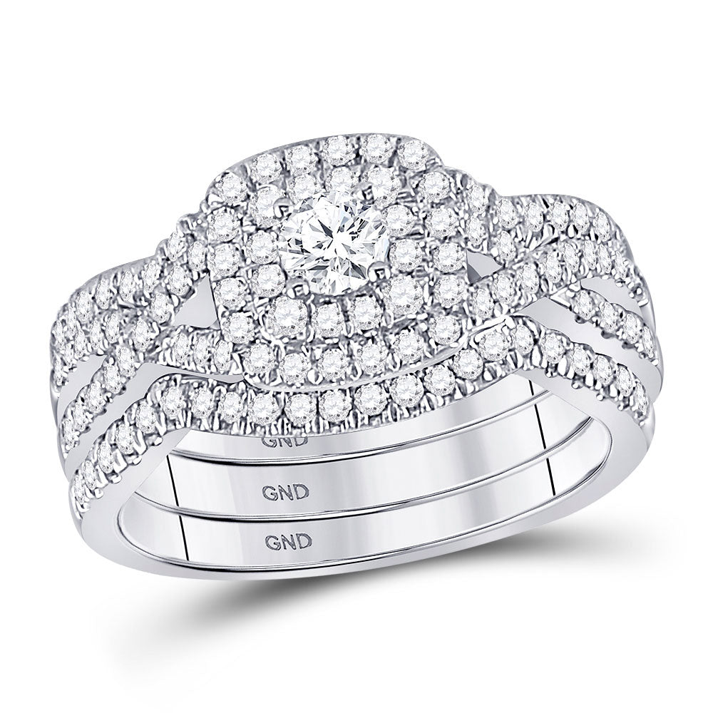 14kt White Gold Round Diamond Bridal Wedding Ring Band Set 7/8 Cttw