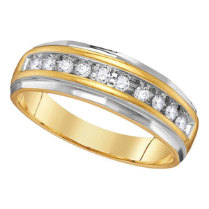 14kt Two-Tone Yellow Gold Mens Round Diamond Wedding Channel Set Band Ring 1/4 Cttw
