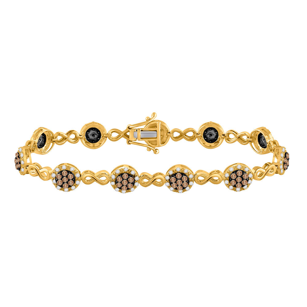 10kt Yellow Gold Womens Round Brown Diamond Infinity Bracelet 2-1/5 Cttw