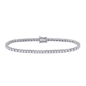 10kt White Gold Womens Round Diamond Classic Tennis Bracelet 1.00 Cttw