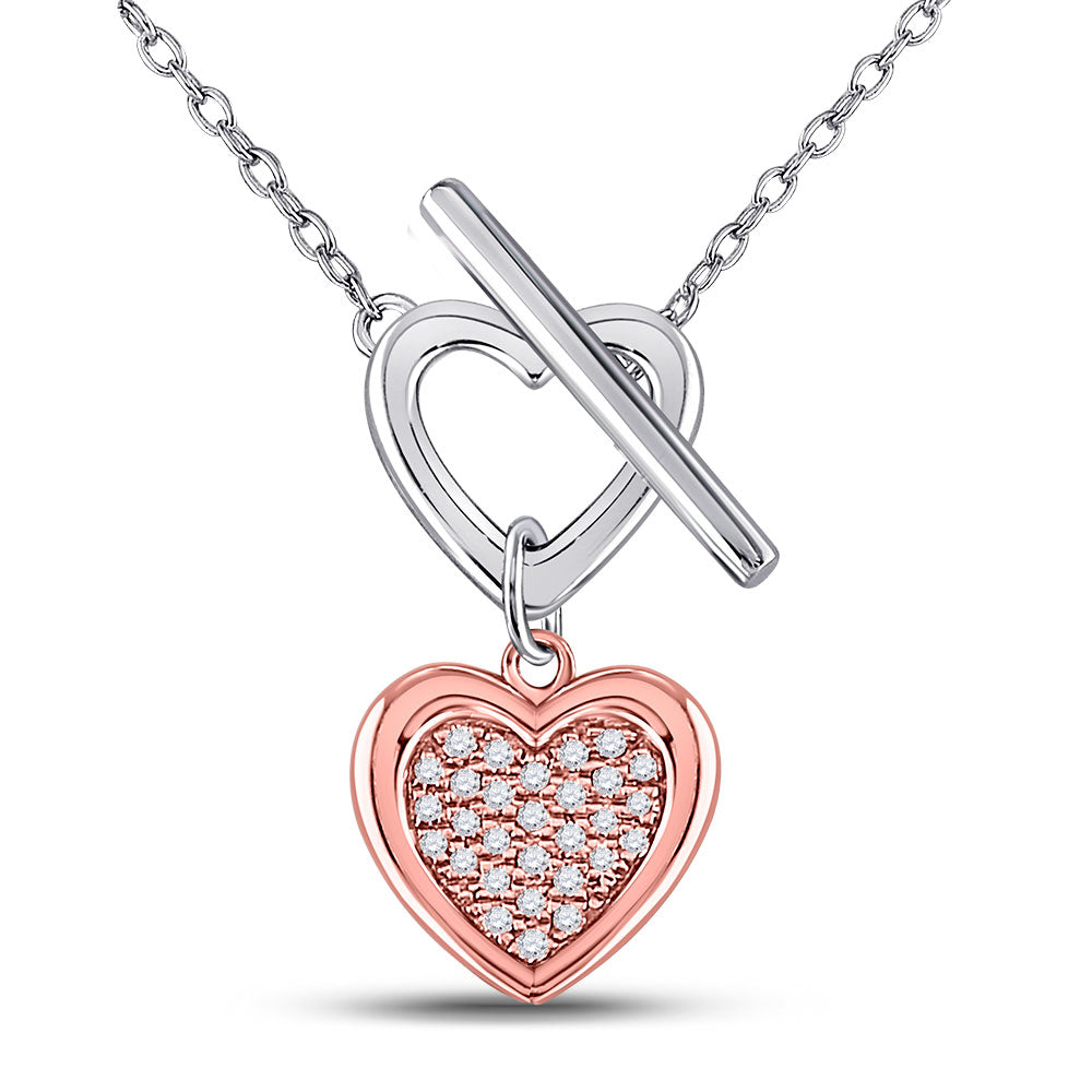 Sterling Silver Womens Round Diamond Fashion Heart Necklace 1/10 Cttw