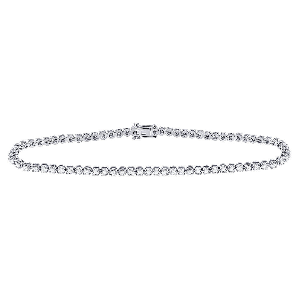 10kt White Gold Womens Round Diamond Studded Tennis Bracelet 1-1/5 Cttw