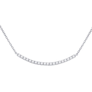 14kt White Gold Womens Round Diamond Curved Bar Necklace 1/2 Cttw