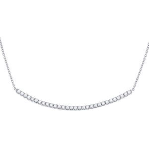 14kt White Gold Womens Round Diamond Curved Bar Necklace 1 Cttw