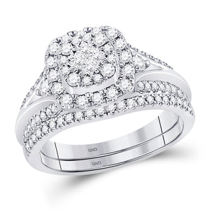 14kt White Gold Womens Princess Diamond Bridal Wedding Engagement Ring Set 3/4 Cttw
