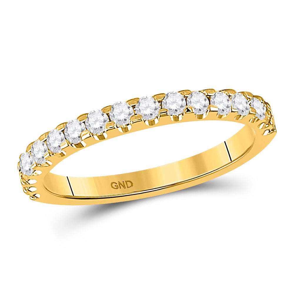14kt Yellow Gold Womens Round Diamond Wedding Machine-Set Band 1/2 Cttw