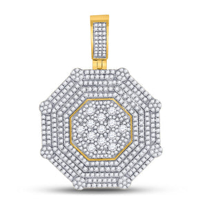 10kt Yellow Gold Mens Round Diamond Octagon Cluster Charm Pendant 3-1/2 Cttw