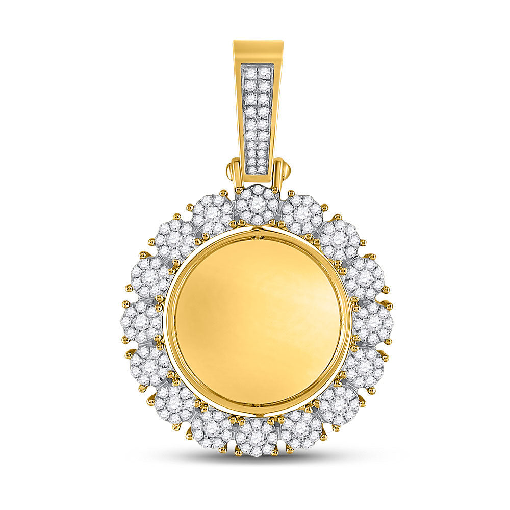 10kt Yellow Gold Mens Round Diamond Circle Cluster Picture Memory Pendant 2 Cttw