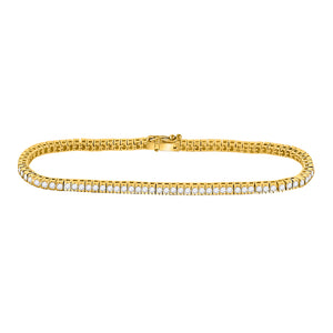 14kt Yellow Gold Womens Round Diamond Classic Tennis Bracelet 2.00 Cttw