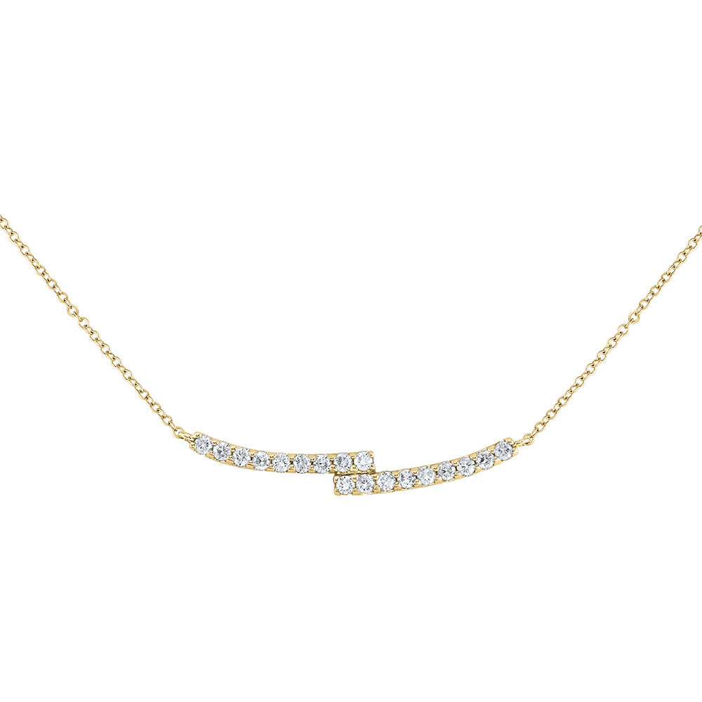 14kt Yellow Gold Womens Round Diamond Curved Bypass Bar Necklace 1/2 Cttw