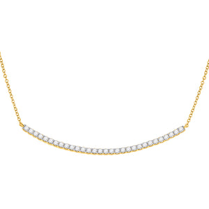 14kt Yellow Gold Womens Round Diamond Curved Bar Necklace 1 Cttw