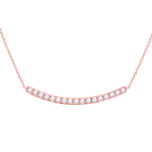 14kt Rose Gold Womens Round Diamond Curved Bar Necklace 3/4 Cttw