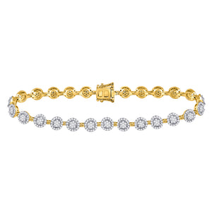 14kt Yellow Gold Womens Round Diamond Halo Cluster Tennis Bracelet 2 Cttw