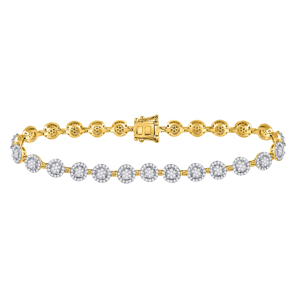 14kt Yellow Gold Womens Round Diamond Halo Cluster Tennis Bracelet 2.00 Cttw