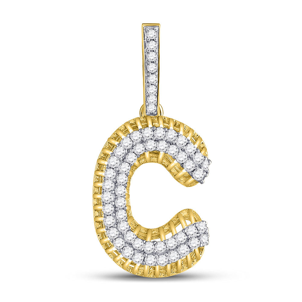 10kt Yellow Gold Mens Round Diamond C Letter Charm Pendant 1-1/5 Cttw