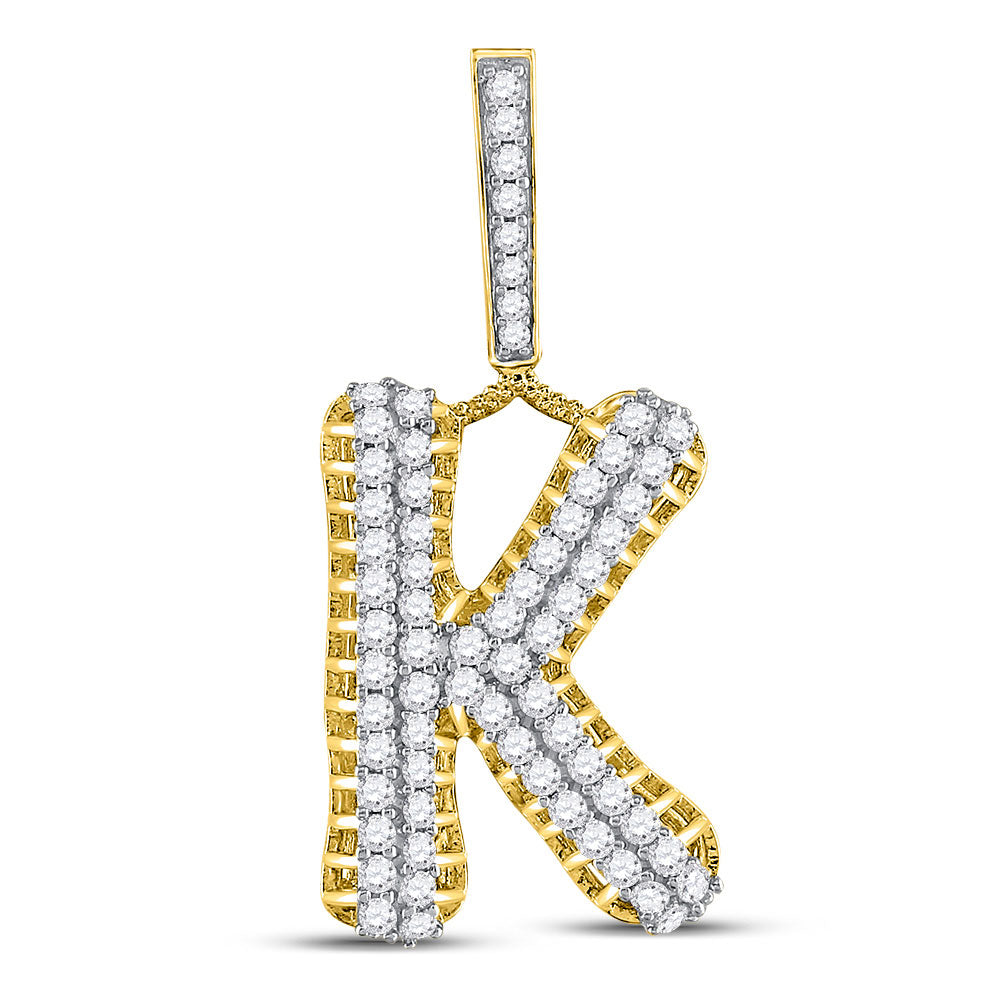 10kt Yellow Gold Mens Round Diamond K Letter Charm Pendant 1-1/3 Cttw