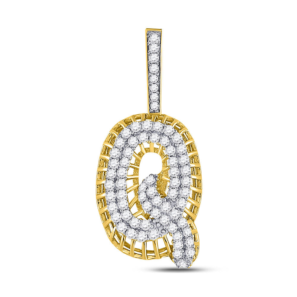 10kt Yellow Gold Mens Round Diamond Q Letter Charm Pendant 1-1/3 Cttw