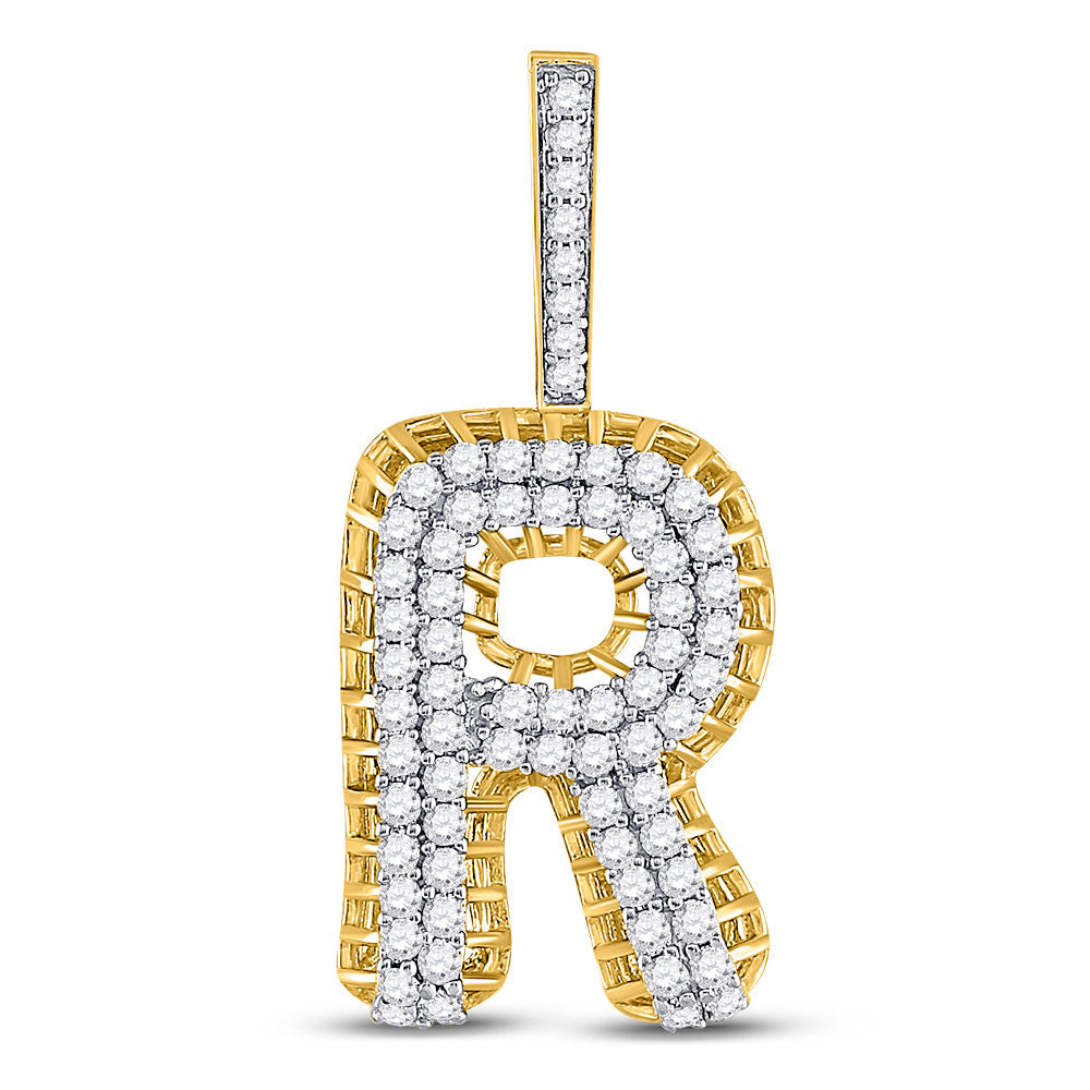 10kt Yellow Gold Mens Round Diamond R Letter Charm Pendant 1-3/8 Cttw