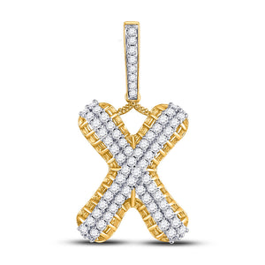 10kt Yellow Gold Mens Round Diamond X Letter Charm Pendant 1-1/3 Cttw