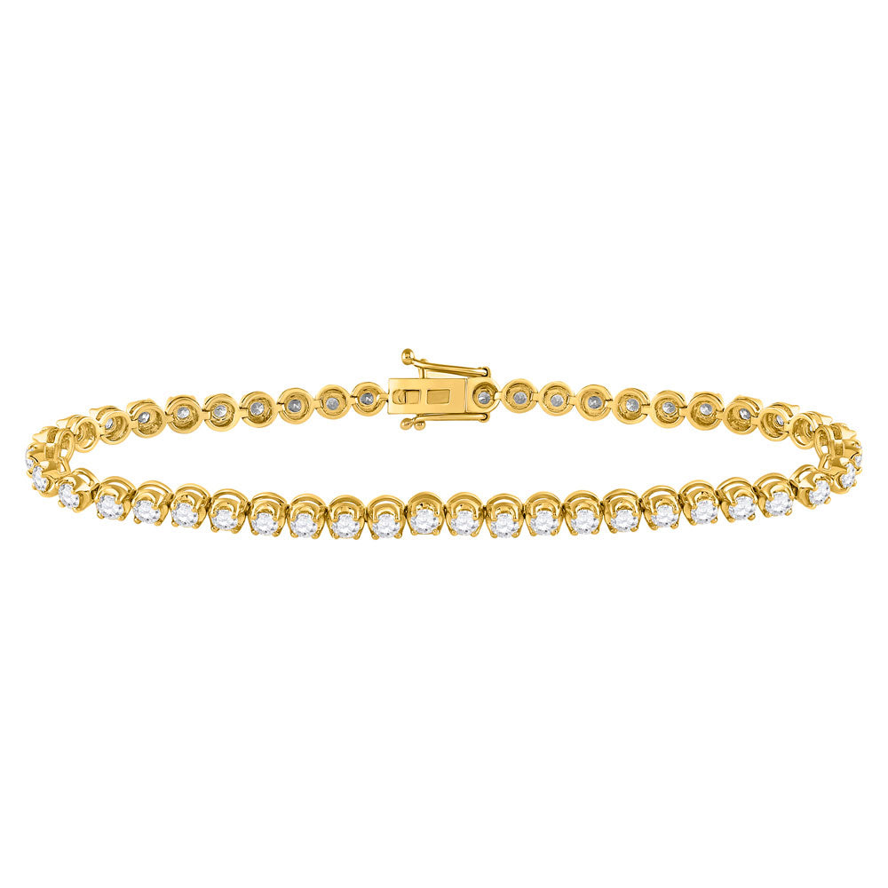 14kt Yellow Gold Womens Round Diamond Classic Tennis Bracelet 4.00 Cttw
