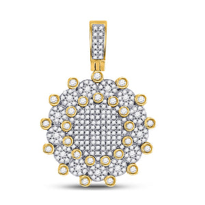 10kt Yellow Gold Mens Round Diamond Circle Charm Pendant 1 Cttw