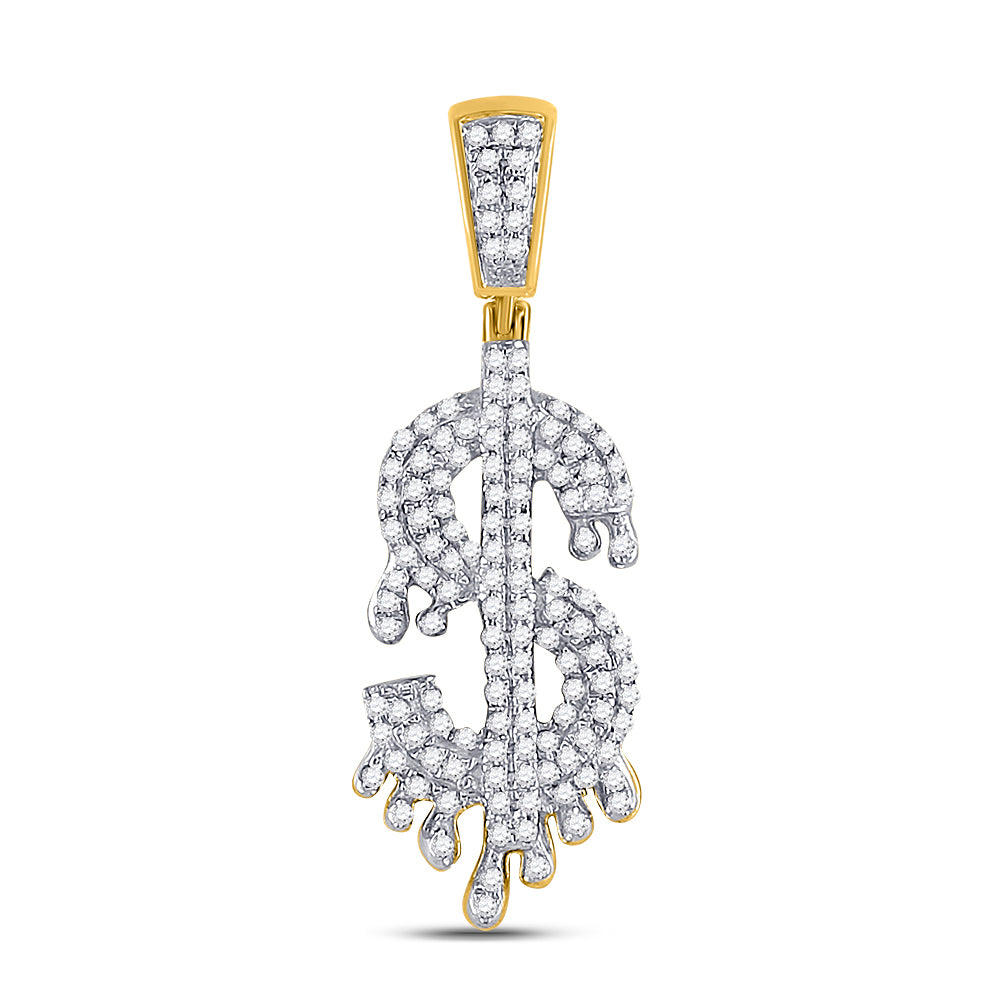 10kt Yellow Gold Mens Round Diamond Dollar-Sign Charm Pendant 3/8 Cttw