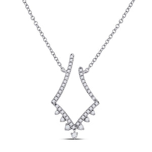 14kt White Gold Womens Round Diamond Modern-V Fashion Necklace 1/4 Cttw