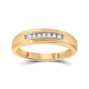 10kt Yellow Gold Mens Round Diamond Wedding Band Ring 1/12 Cttw