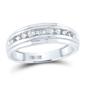 10kt White Gold Mens Round Diamond Wedding Channel Set Scalloped Band Ring 1/4 Cttw