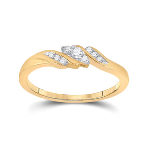 10kt Yellow Gold Womens Round Diamond 3-stone Promise Ring 1/10 Cttw