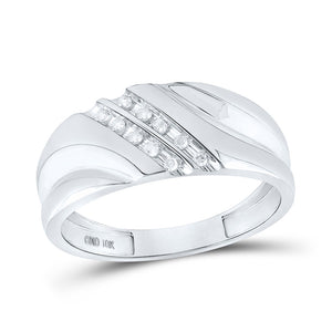 10kt White Gold Mens Round Diamond 2-row Wedding Anniversary Band Ring 1/8 Cttw