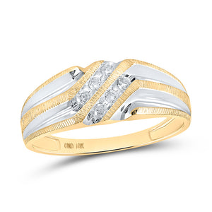 10kt Two-tone Gold Mens Round Diamond Wedding Band Ring 1/8 Cttw